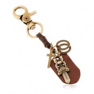 Patinovaný prívesok na kľúče v mosadznom odtieni, meč s hviezdami, kruhy