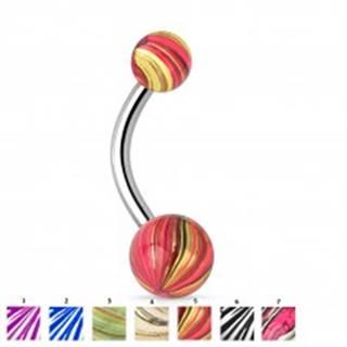 Piercing do bruška striebornej farby, chirurgická oceľ, farebné guličky - Motívy: 01.