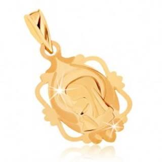 Prívesok zo žltého 9K zlata - medailón s Pannou Máriou v ozdobnom ráme GG70.10
