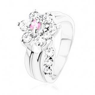 Prsteň s hladkými ramenami, zirkónový kvietok v ružovom a čírom odtieni V08.28 - Veľkosť: 49 mm