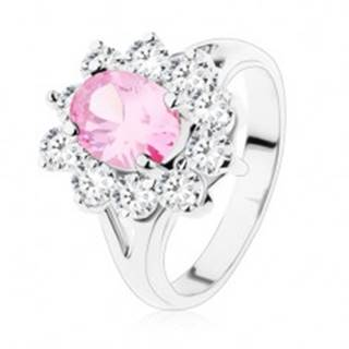 Prsteň s rozdvojenými ramenami, ružový zirkónový ovál, číre lemovanie V06.15 - Veľkosť: 48 mm