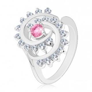 Prsteň v striebornej farbe, špirála s čírym lemom, ružový okrúhly zirkón - Veľkosť: 50 mm