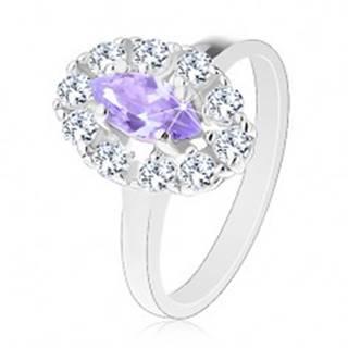 Prsteň v striebornom odtieni, svetlofialové zrnko s čírou zirkónovou obrubou V02.26 - Veľkosť: 53 mm