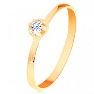Prsteň v žltom 14K zlate - číry diamant vo vyvýšenom okrúhlom kotlíku BT153.17/22 - Veľkosť: 49 mm