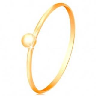Prsteň v žltom 14K zlate  - drobná lesklá gulička, tenké ramená - Veľkosť: 49 mm