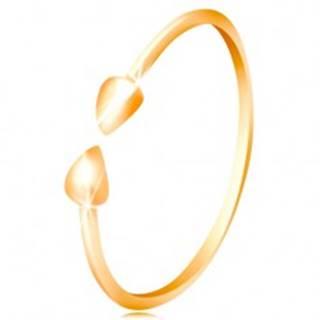 Prsteň v žltom 14K zlate - lesklé ramená ukončené malými slzičkami - Veľkosť: 50 mm