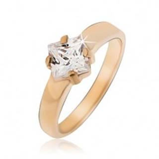Prsteň z ocele zlatej farby so štvorcovým zirkónom BB09.10 - Veľkosť: 49 mm