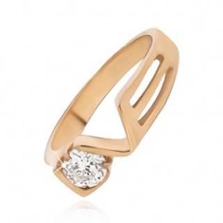 Prsteň zlatej farby z ocele s čírym zirkónom, LOVE BB09.13 - Veľkosť: 49 mm