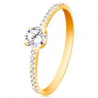 Prsteň zo žltého 14K zlata - okrúhly číry zirkón, tenké zirkónové línie po stranách - Veľkosť: 49 mm