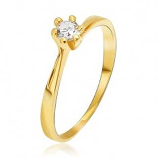 Prsteň zo žltého 14K zlata - zúžené ramená pri kotlíku, okrúhly kamienok - Veľkosť: 49 mm
