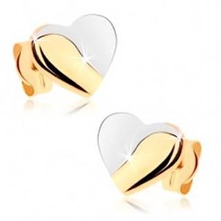 Ródiované náušnice v 9K zlate - srdcia s lesklou a matnou časťou