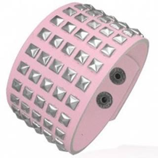 Ružový koženkový náramok - kovové pyramídy U16.3