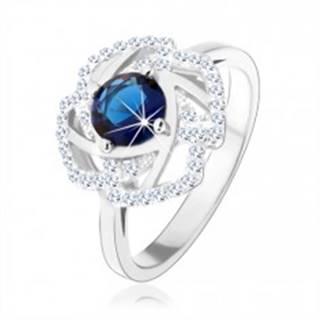 Strieborný 925 prsteň, trblietavý obrys kvetu, modrý okrúhly zirkón - Veľkosť: 51 mm