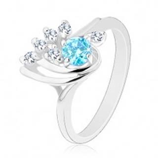 Trblietavý prsteň - slza s hladkými oblúčikmi, modrý okrúhly zirkón, číra línia - Veľkosť: 55 mm