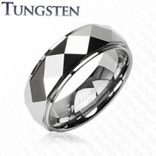 Tungstenový prsteň so skosenými kosoštvorcami, strieborná farba - Veľkosť: 49 mm