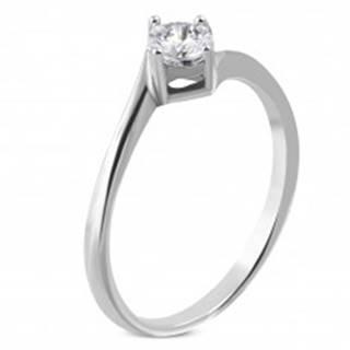 Zásnubný prsteň z chirurgickej ocele, zahnuté konce ramien, číry zirkón - Veľkosť: 51 mm