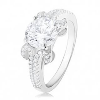 Zásnubný prsteň zo striebra 925, okrúhly zirkón v čírej farbe, trblietavé pásiky - Veľkosť: 50 mm