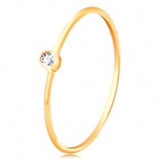 Zlatý diamantový prsteň 585 - ligotavý číry briliant v lesklej objímke, úzke ramená BT502.71/77 - Veľkosť: 48 mm