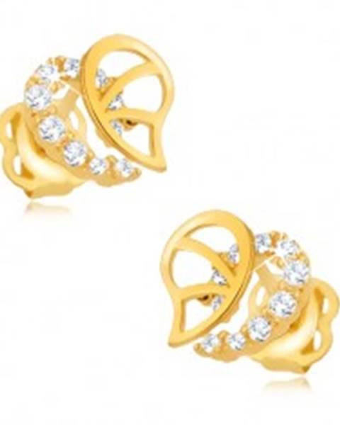 Briliantové náušnice, 14K zlato - nepravidelná kontúra srdca s diamantmi a výrezmi