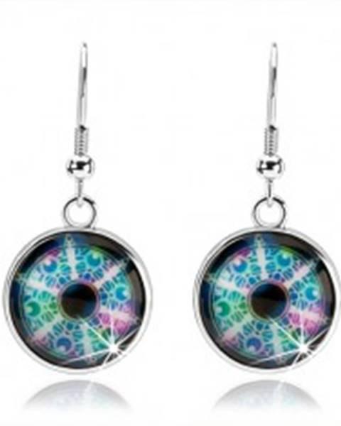 Cabochon náušnice, strieborná farba, rôznofarebný kaleidoskop, kruhy SP68.26