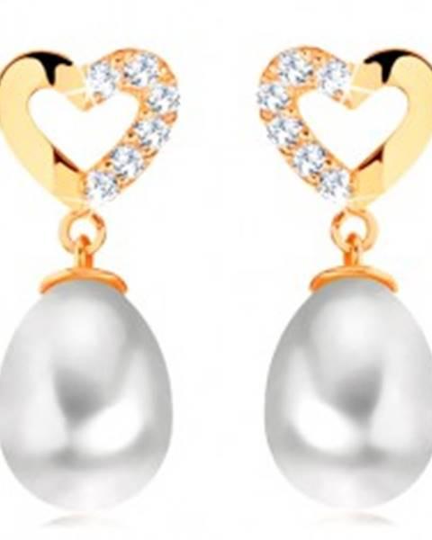 Diamantové náušnice zo žltého 14K zlata - kontúra srdca s briliantmi, oválna perla