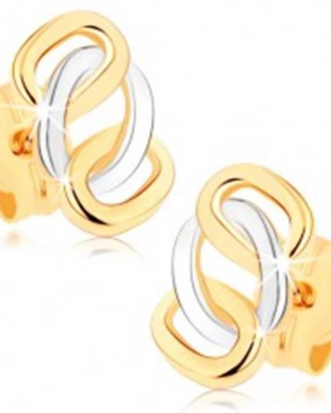 Dvojfarebné náušnice z 9K zlata - lesklé prepojené obruče, puzetky GG75.05