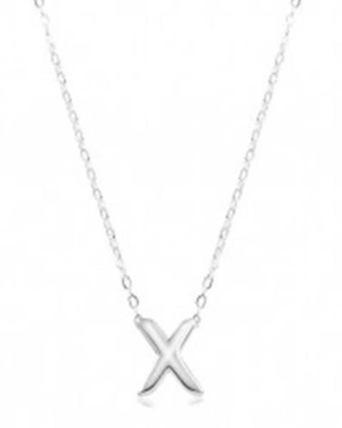 Nastaviteľný náhrdelník, striebro 925, veľké tlačené písmeno X