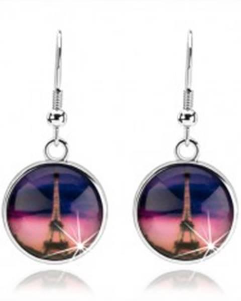Náušnice cabochon, číra vypuklá glazúra, Eiffelova veža, ružovo-fialové pozadie SP72.12