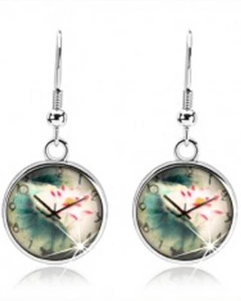 Náušnice cabochon, číra vypuklá glazúra, motív - hodinky, kvet s listami SP53.09
