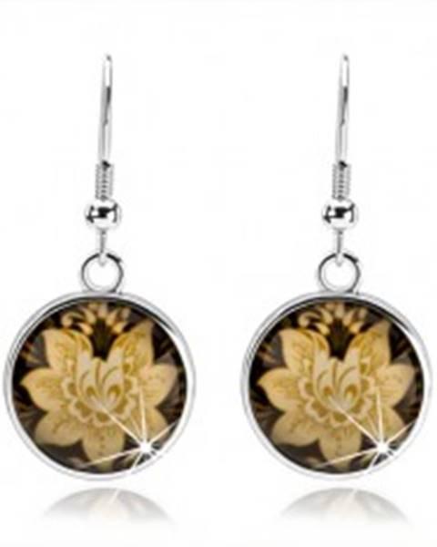 Náušnice kabošon, kruh s afroháčikom, glazúra, žltý kvet, čierny podklad SP70.20