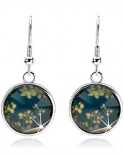 Náušnice kabošon, kruh s glazúrou, kvetinový vzor, modrý podklad SP71.15