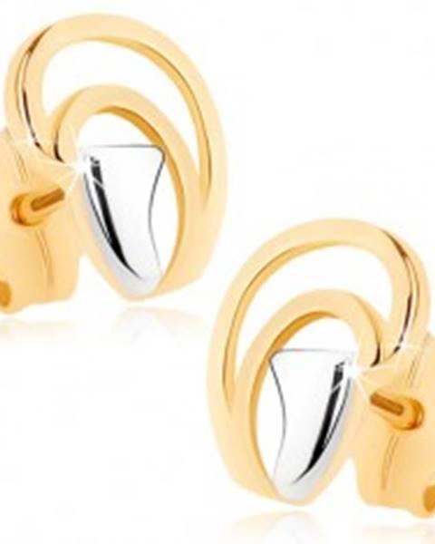 Náušnice v 9K zlate - nepravidelné oblúčiky tvoriace kvapku, dvojfarebné