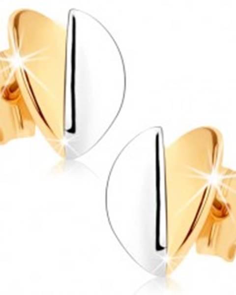 Náušnice v 9K zlate - vypuklé lístočky, zlatý a strieborný odtieň, ródiované GG75.06