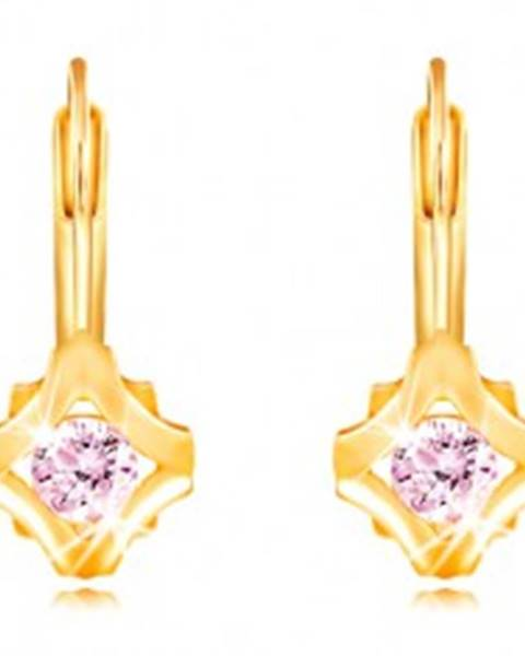 Náušnice v žltom 14K zlate - okrúhly ružový zirkón v obryse kosoštvroca
