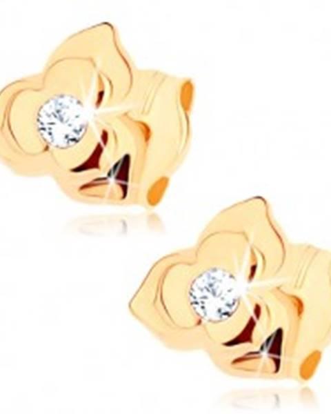 Náušnice v žltom 9K zlate - kvietok so zdvojenými lupeňmi, číry zirkón GG72.09