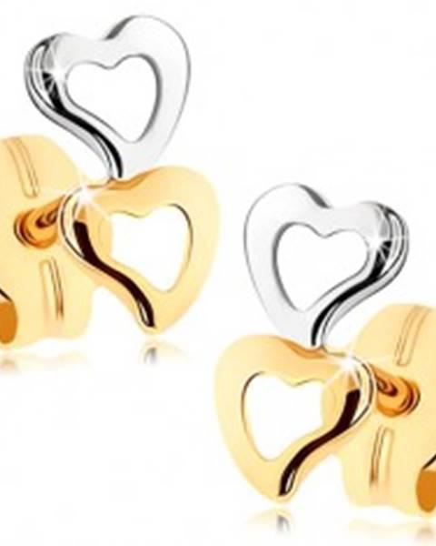 Náušnice zo zlata 375 - dva obrysy srdiečok, dvojfarebné prevedenie GG75.02