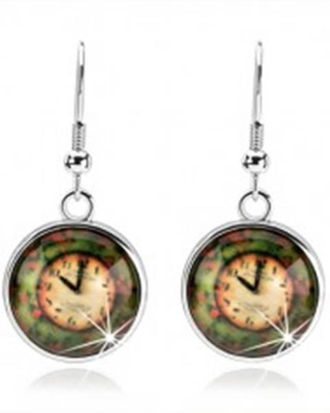 Okrúhle náušnice - kabošon, vypuklá glazúra, hodinky na farebnom podklade SP66.09