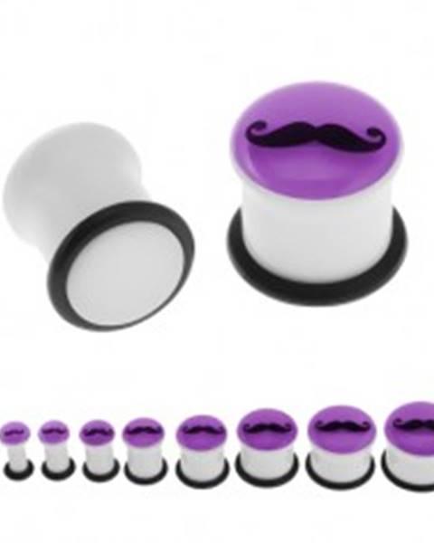 Plug do ucha, biela farba, fialová predná časť svietiaca v tme, fúzy, gumička - Hrúbka: 10 mm