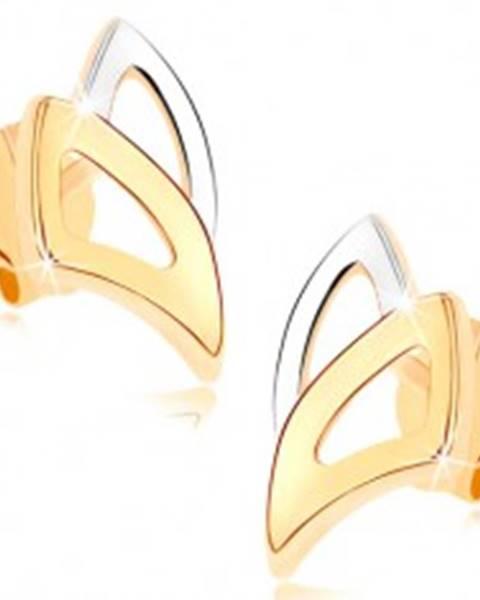 Puzetové náušnice v žltom 9K zlate - dvojfarebné obrysy trojuholníkov GG74.04