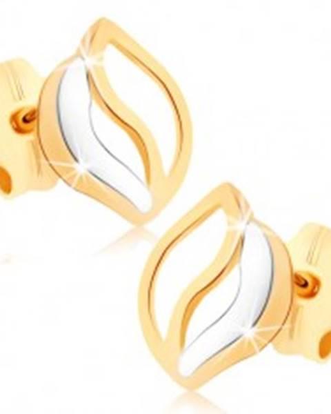 Puzetové náušnice v žltom 9K zlate - tri zvlnené línie, dvojfarebné GG74.11