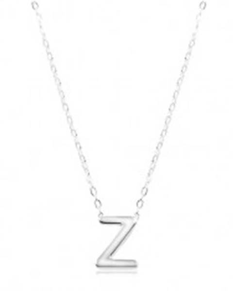 d4545b920 Strieborný náhrdelník 925, lesklá retiazka, veľké tlačené písmeno Z SP07.29