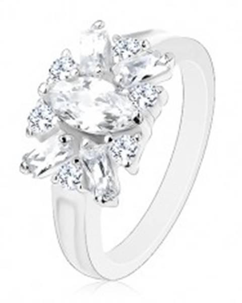 Trblietavý prsteň - ramená s vrúbkom, číre zrno, okrúhle a podlhovasté zirkóny - Veľkosť: 51 mm