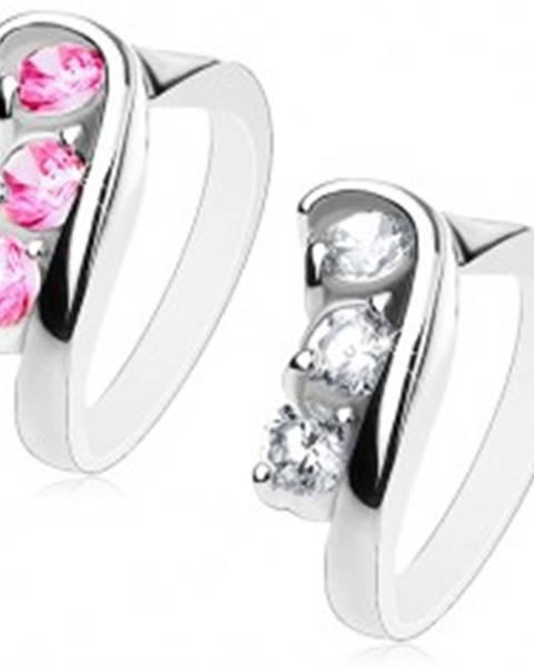 Trblietavý prsteň s asymetricky zahnutými ramenami, brúsené okrúhle zirkóny - Veľkosť: 49 mm, Farba: Číra