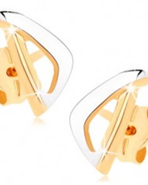 Zlaté náušnice 375 - asymetrický obrys trojuholníka v dvoch farbách GG74.06