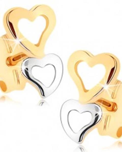 Zlaté náušnice 375 - dve srdcové kontúry v dvojfarebnom prevedení