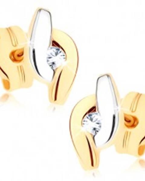Zlaté náušnice 375 - dvojfarebné zahnuté línie lemujúce číry zirkón GG72.14