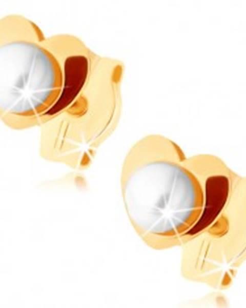 Zlaté náušnice 375 - lesklé srdiečko, biela perlička v strede GG72.05