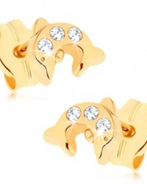 Zlaté náušnice 375 - lesklý skáčuci delfín, tri okrúhle číre zirkóniky GG73.03