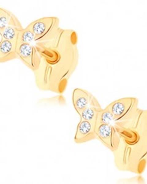 Zlaté náušnice 375 - ligotavý motýlik zdobený drobnými čírymi zirkónmi GG73.02