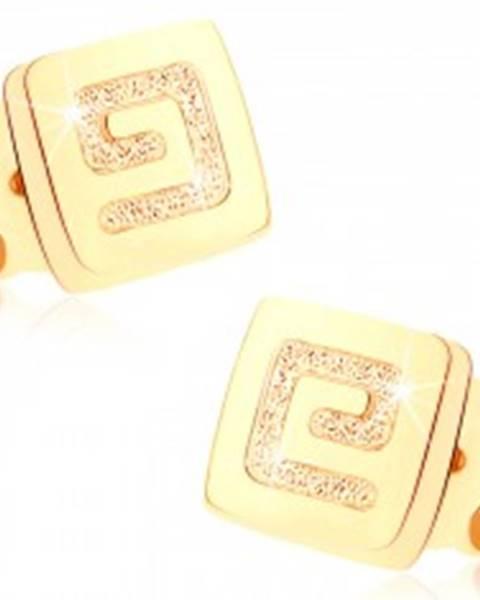 Zlaté náušnice 375 - malý lesklý štvorec, pieskovaný grécky kľúč GG73.10